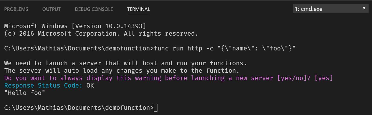Running function via CLI